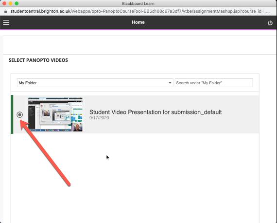 screenshot of selecting a video