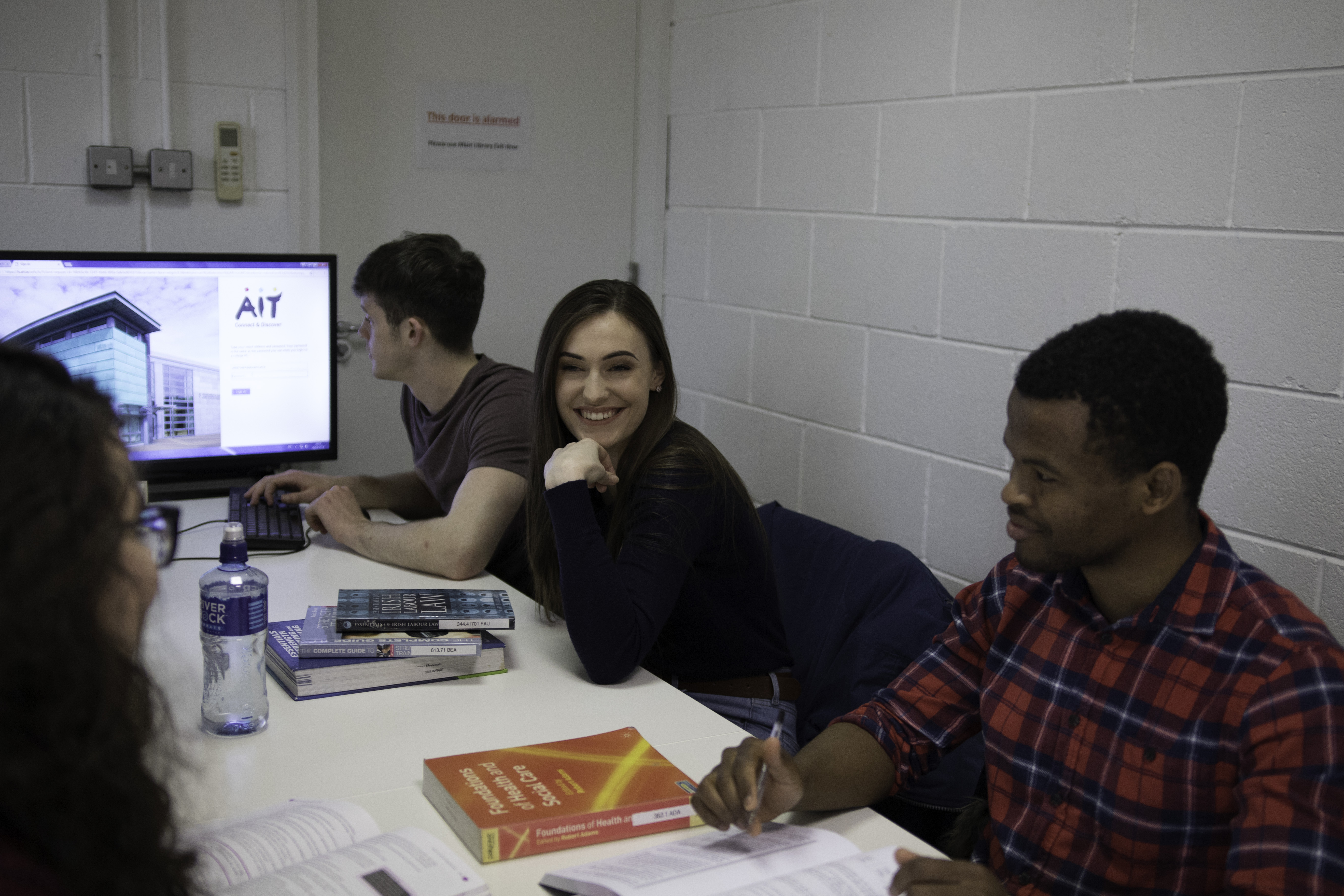 students in group study room