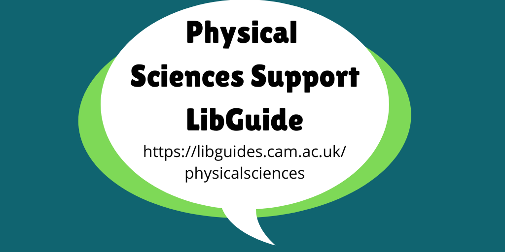 Physical Scences Support LibGuide header image