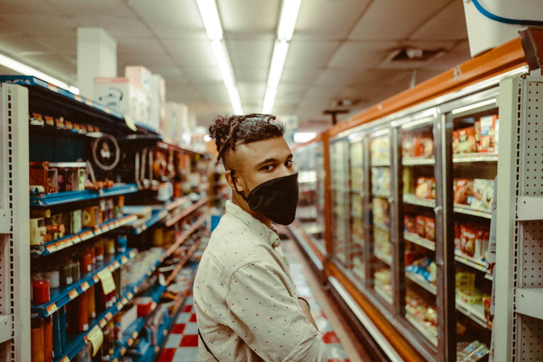 Student in supermarket