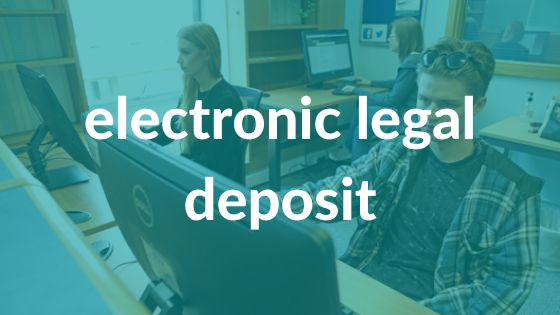 Two female and one male students reading on computer screens with 'electronic legal deposit' text over it