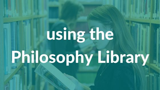 Two female students browsing the Philosophy shelves with 'using the Philosophy Library' text over it
