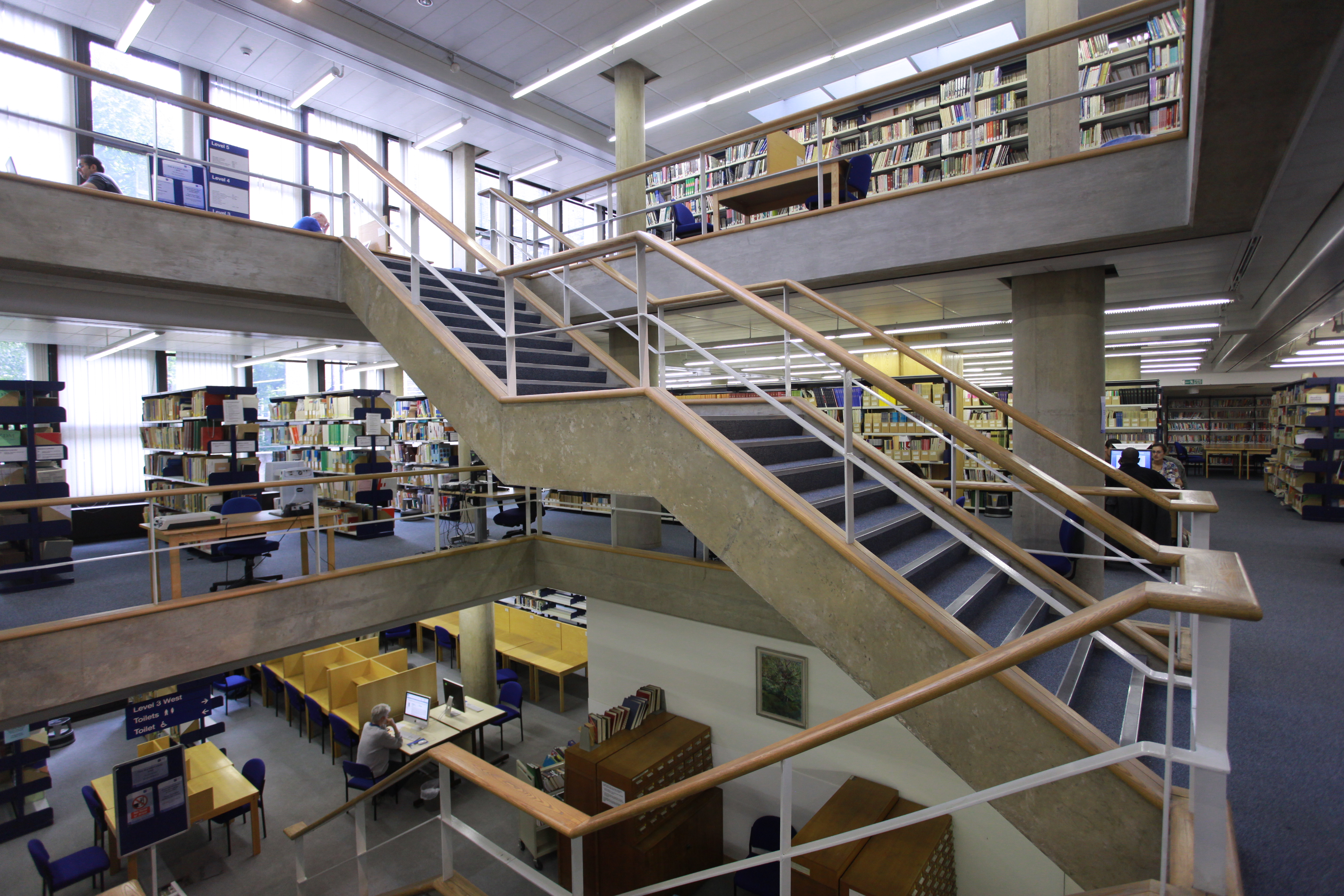 Photo of the main staircase in the IOE Library
