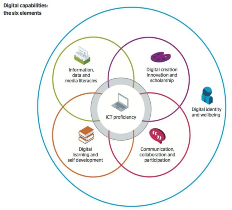 Graphic demonstrating the six elements of digital capabilities.