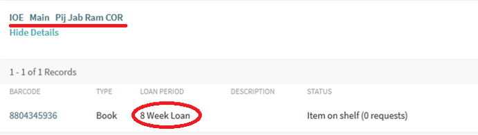 Screenshot showing the loan period for a resource on Explore