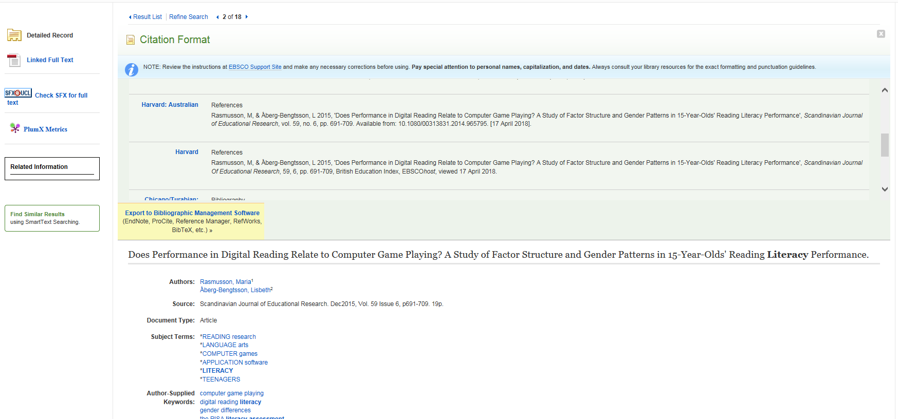 Screenshot demonstrating how to get a citation on BEI on the EBSCO platform