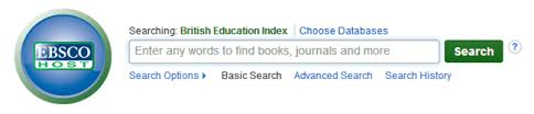 Screenshot of BEI on EBSCO platform