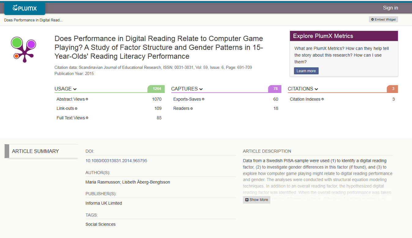 Screenshot of alternative metrics (Plum Analytics) on BEI