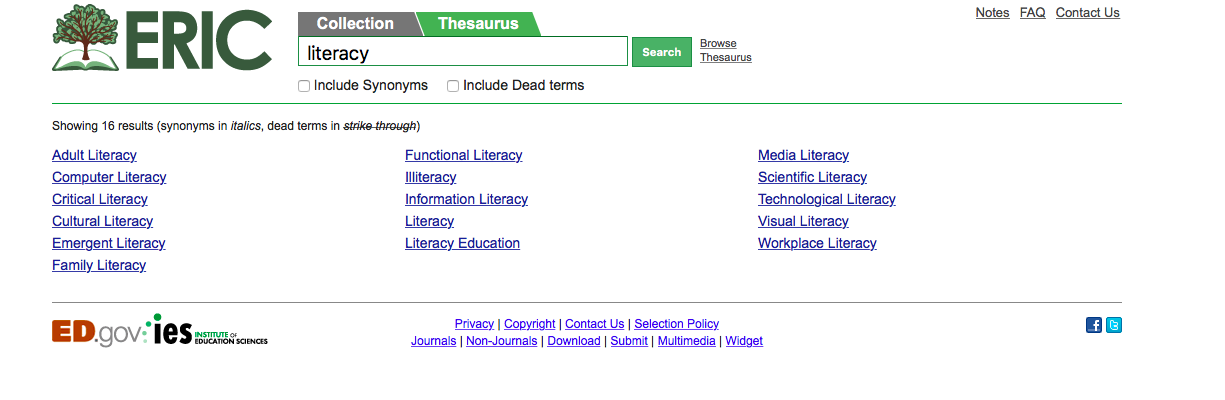 Screenshot of the Thesaurus on ERIC