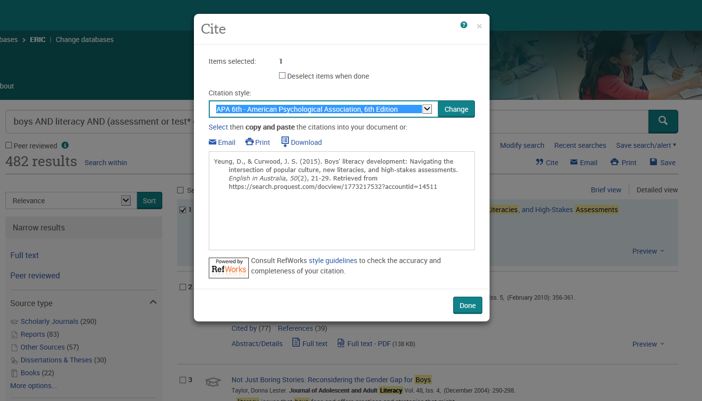Screenshot of dialogue box showing how to create a citation from a reference on ERIC