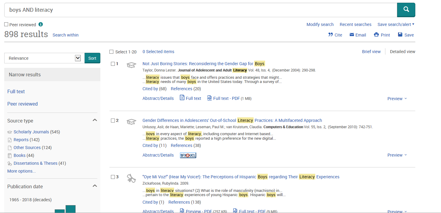 Screenshot of search results from ERIC