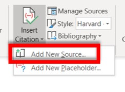 Insert Citation drop-down with Add New Source highlighted
