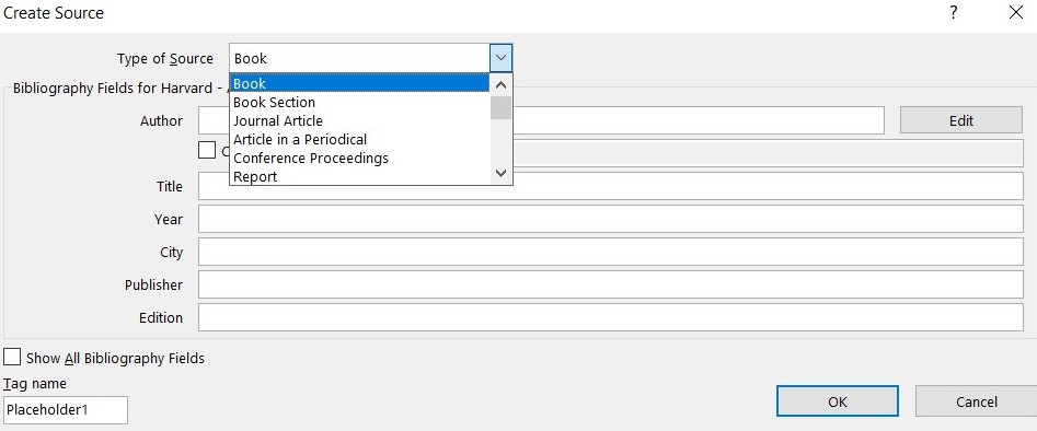 Create Source window with Book selected in the Type of Source drop=down menu
