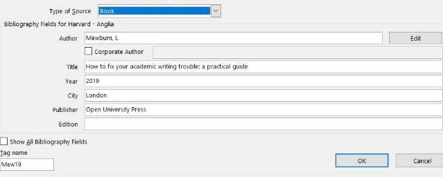 Create source window with book fields filled in