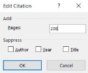 Edit Citation window with page numbers added