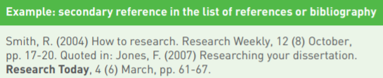 Example: secondary reference in the list of references or bibliography Smith, R. (2004) How to research. Research Weekly, 12 (8) October, pp. 17-20. Quoted in: Jones, F. (2007) Researching your dissertation. Research Today, 4 (6) March, pp. 61-67.