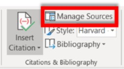 Citations & Bibliography section with Manage Sources highlighted