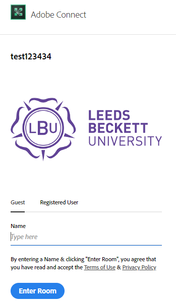 Login box for Guest as Registered User, entering Name and Enter Room button