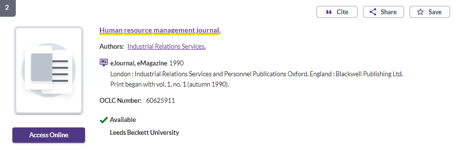 Human resource mangement journal - access online button