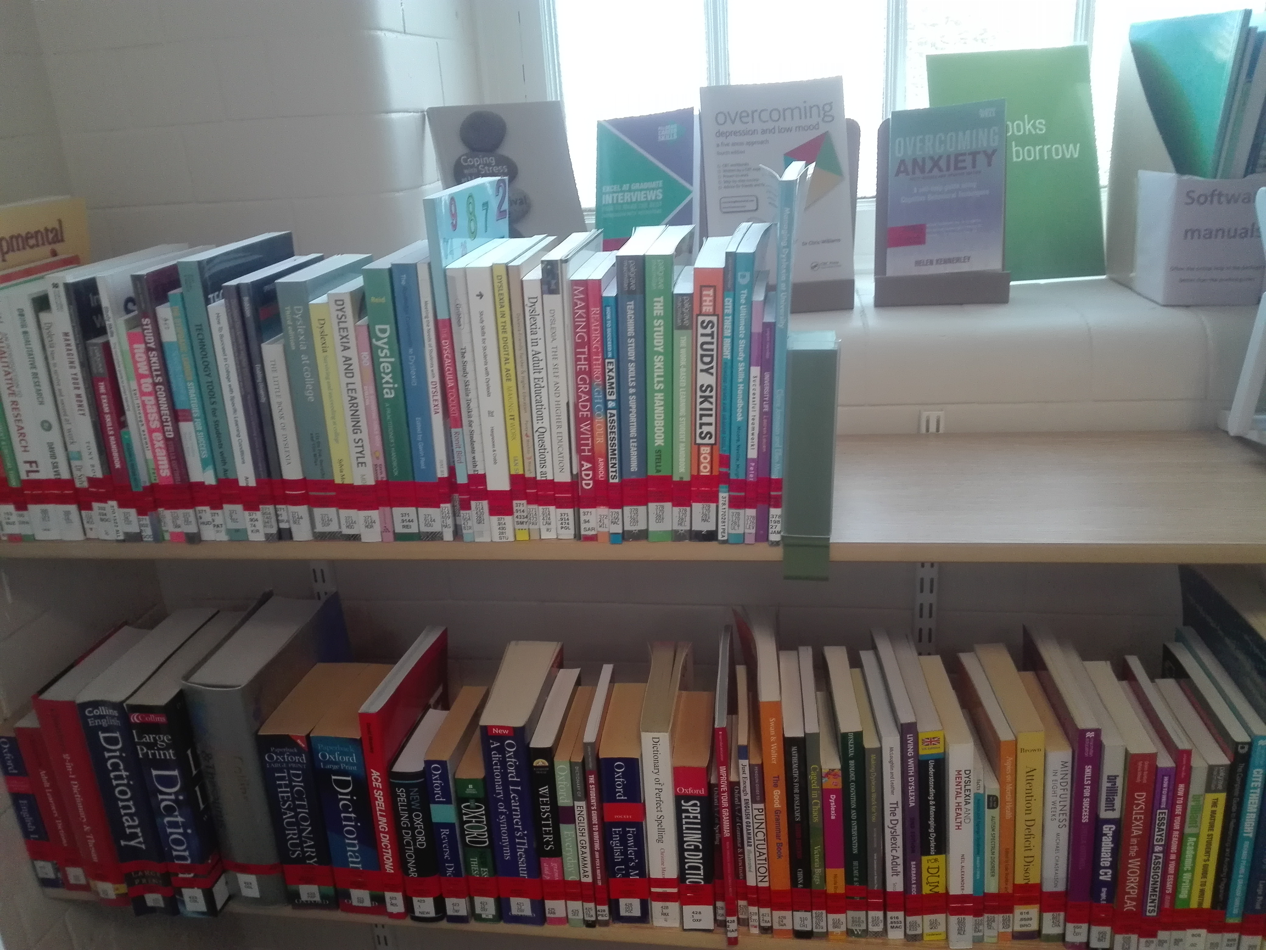 A collection of books is available in the Disability Resource Areas, focusing on study skills, disability in higher education and a positive approach to disability.