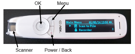 Photo of C-Pen Reader showing location of OK button (centre of circular button), menu button (top right of circular button), power/back button (below right of the circular button), scanner (at the narrowest end of the device).