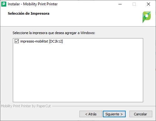 Selecciona la impressora impressio-mobilitat[DC2k12] del llistat