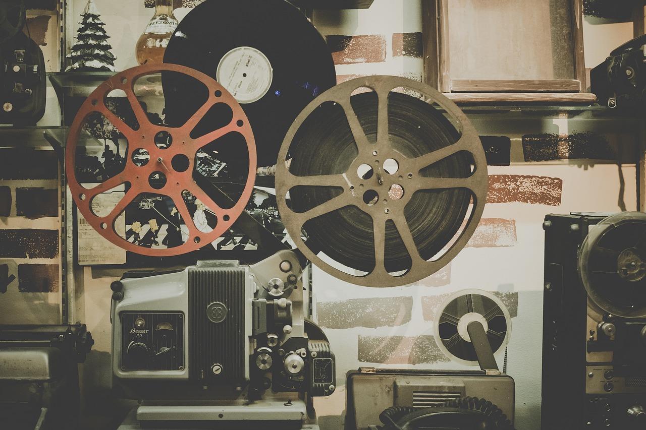 film projector, mixed media equipment, vinyl records