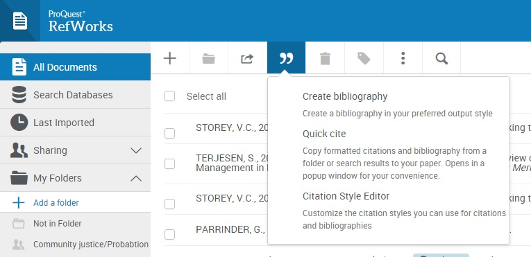 The double quotation button for creating a bibliography