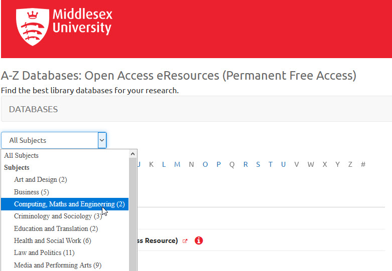 Open access resources list showing subject collections