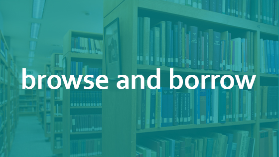 """A photo of the Beit library bookshelves, with """"browse and borrow"""" text written over the image"""