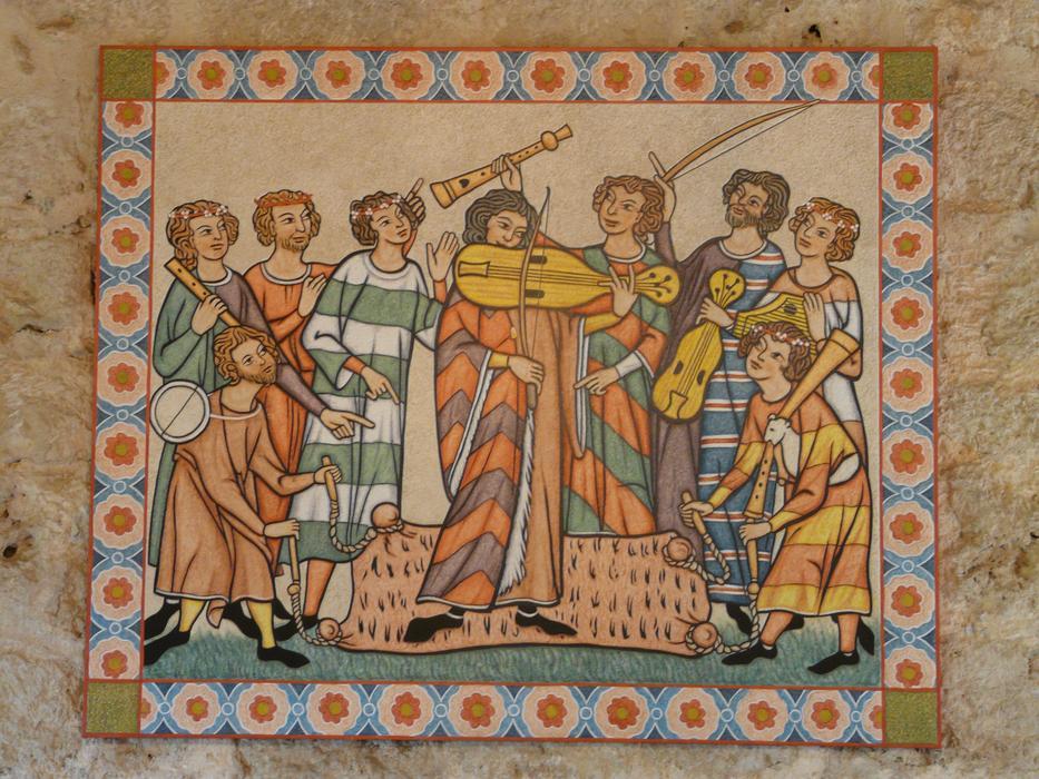 Medieval mural depicting musicians