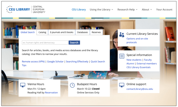 CEU Library home page
