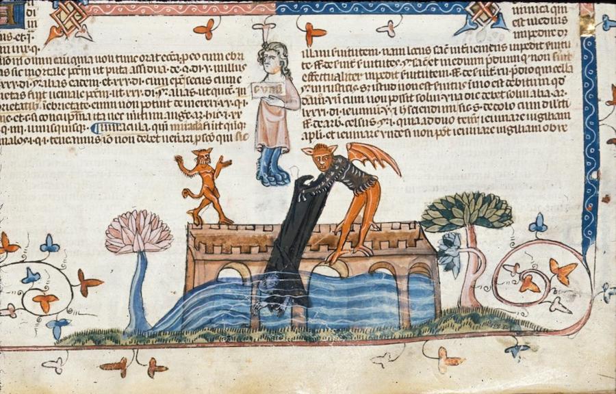 Devil pushing a monk from BL Royal 10 E IV, f. 226