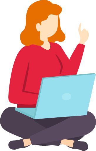 An illustration of a person sitting cross-legged whilst using a laptop computer.