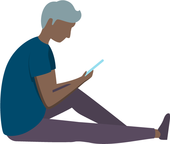 An illustration of a person sitting whilst using a tablet computer.