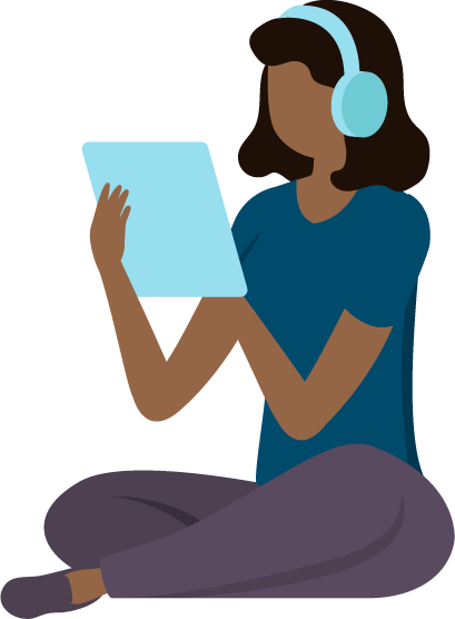 An illustration of a person sitting cross-legged whilst using a tablet computer and wearing headphones.