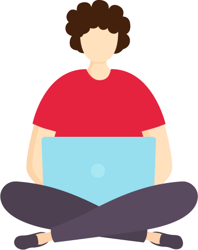 An illustration of a person sitting cross-legged whilst using a laptop.