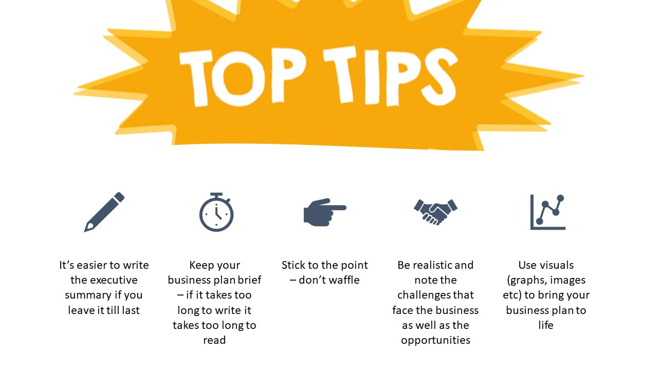top tips for writing a business plan
