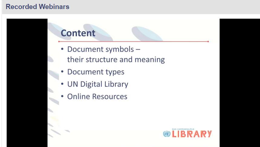 Screenshot of UN Documents training webinar