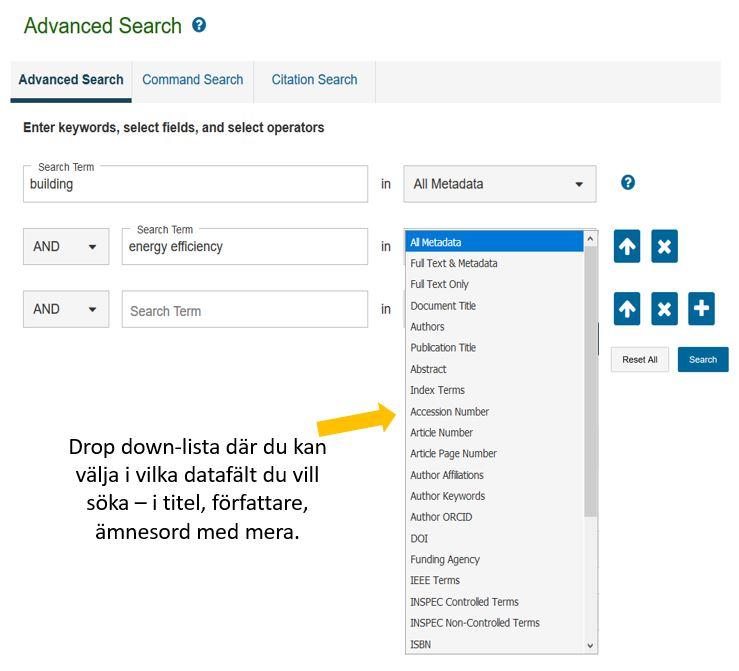 SökexempelBild som visar ett sökformulär i en databas där sökorden building och energy efficiency kombineras med  AND. Den visar också att det går att välja att söka i olika datafält.