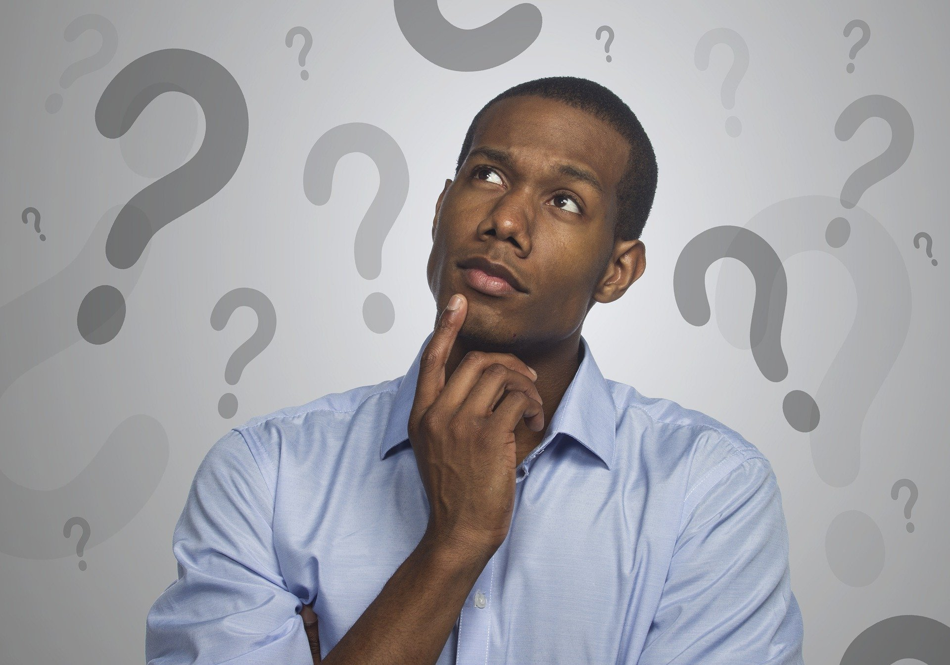 Image showing man with questions