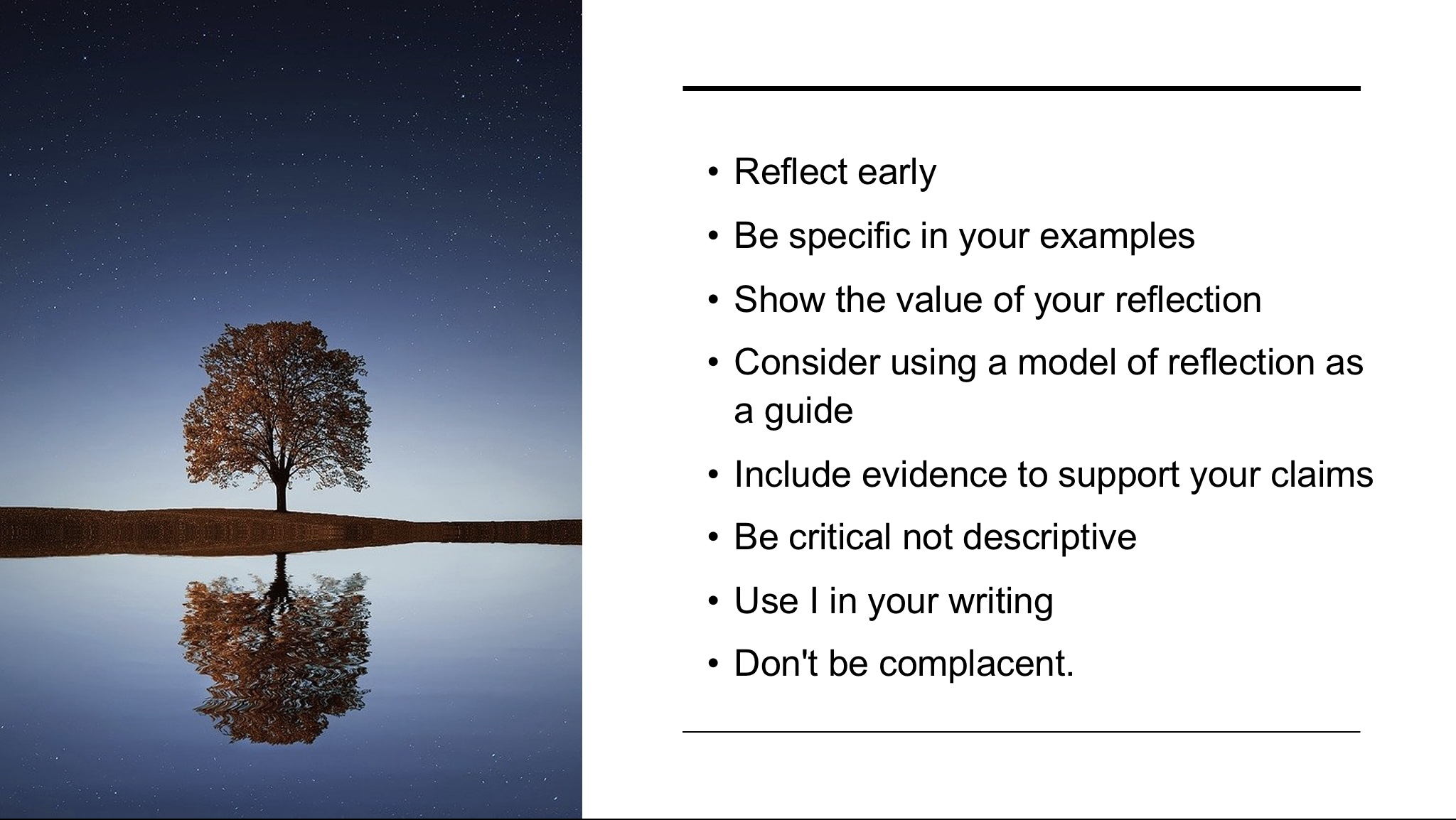 Reflective writing top tips