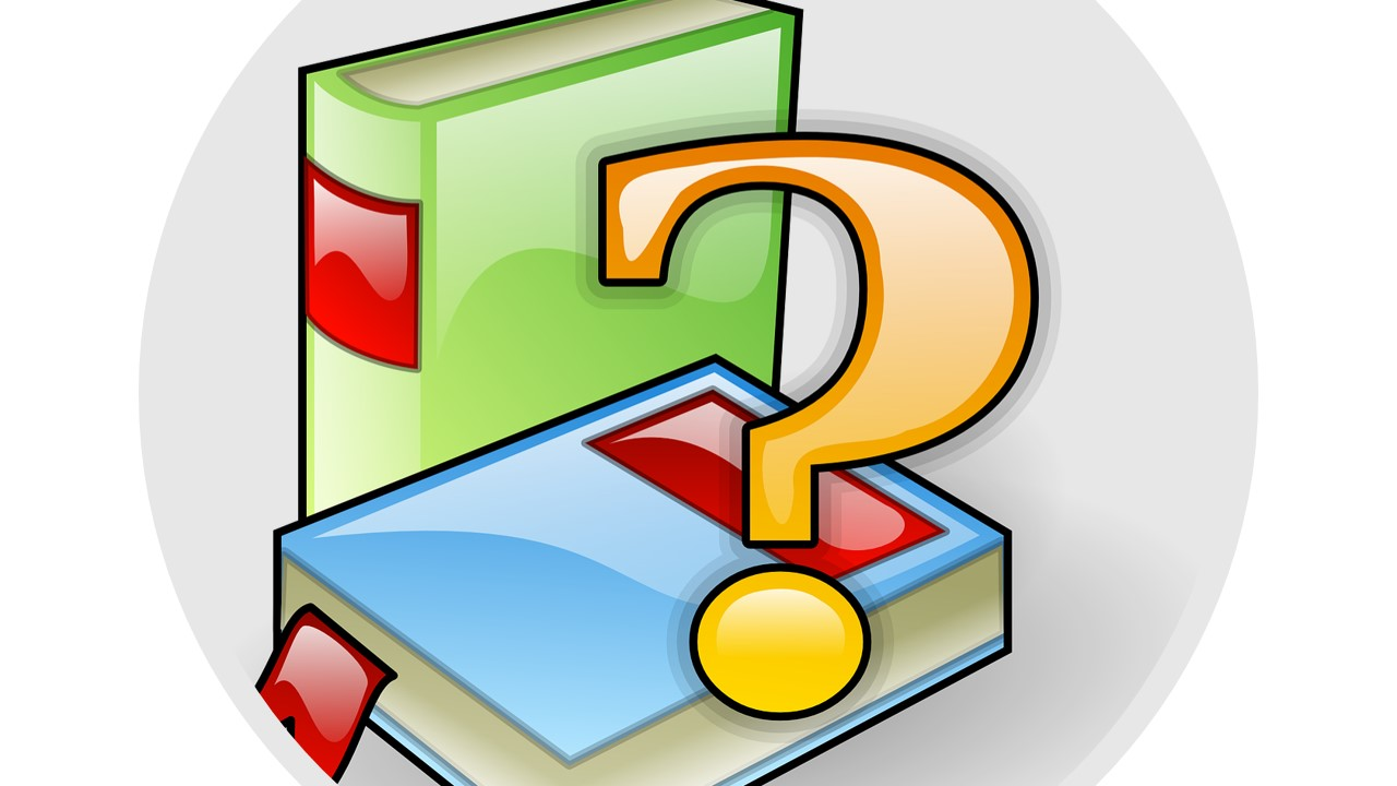 Image of books with question mark