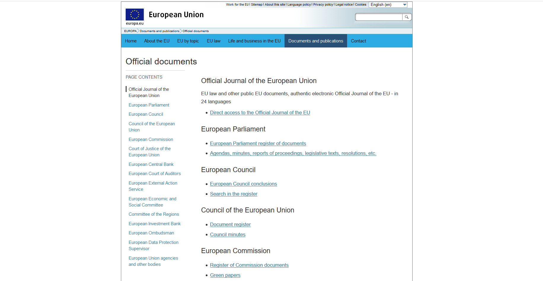 European Union Official Documents