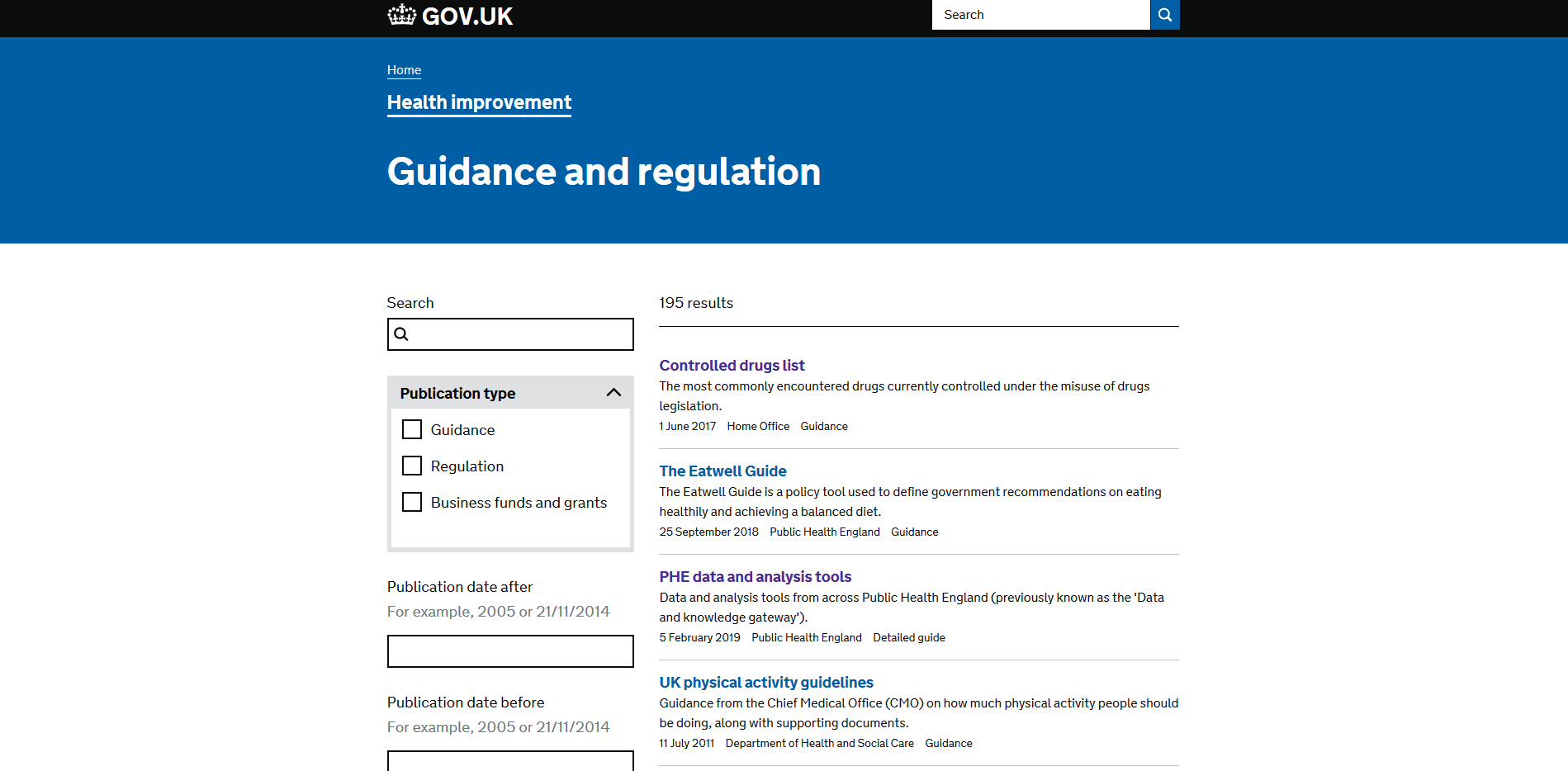 Department of Health and Social Care Guidance and regulation