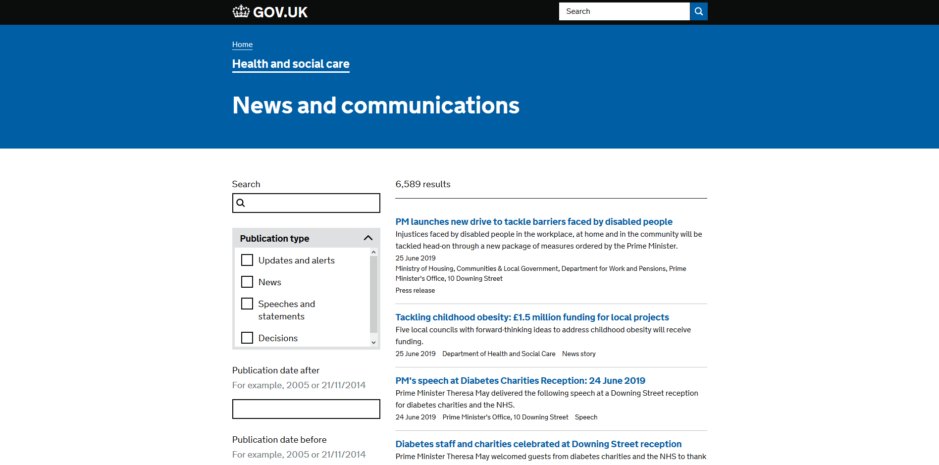 Department of Health and Social Care News and communications