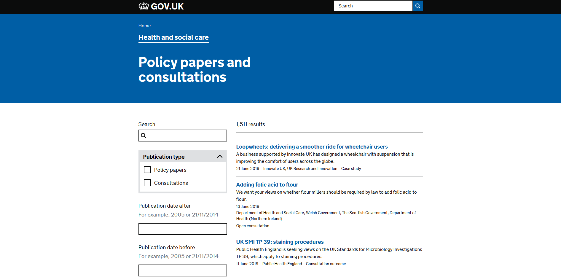 Department of Health and Social Care Policy papers and consultations