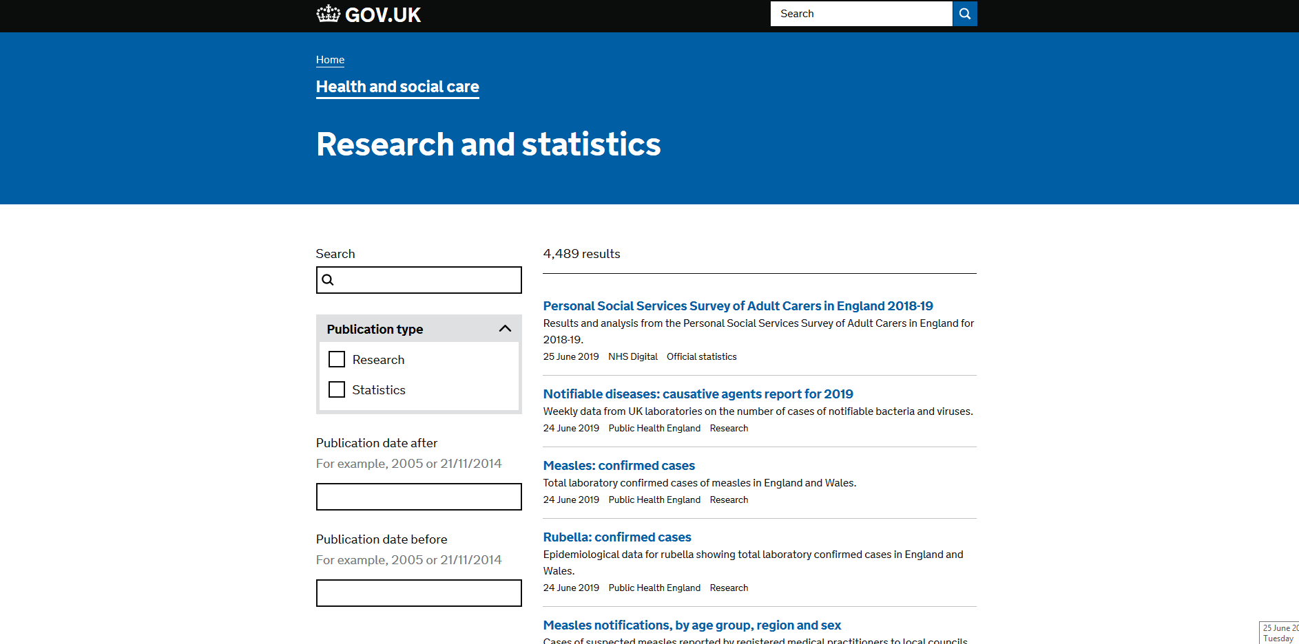 Department of Health and Social Care Guidance and regulation Research and statistics
