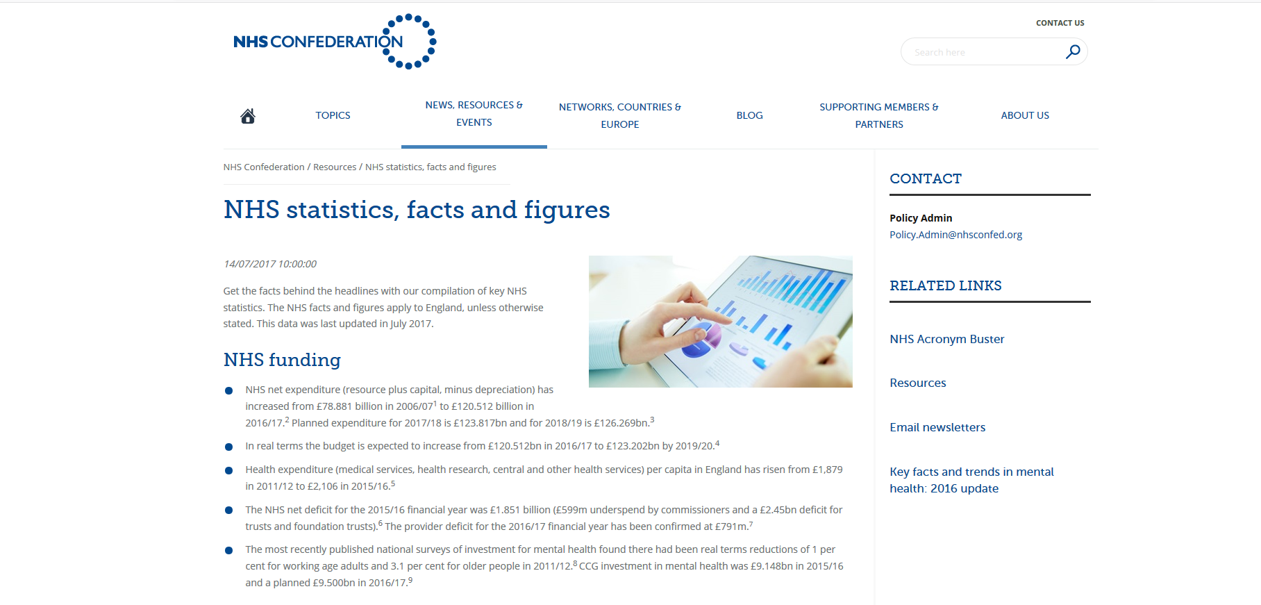 NHS Confederation NHS statistics, facts and figures