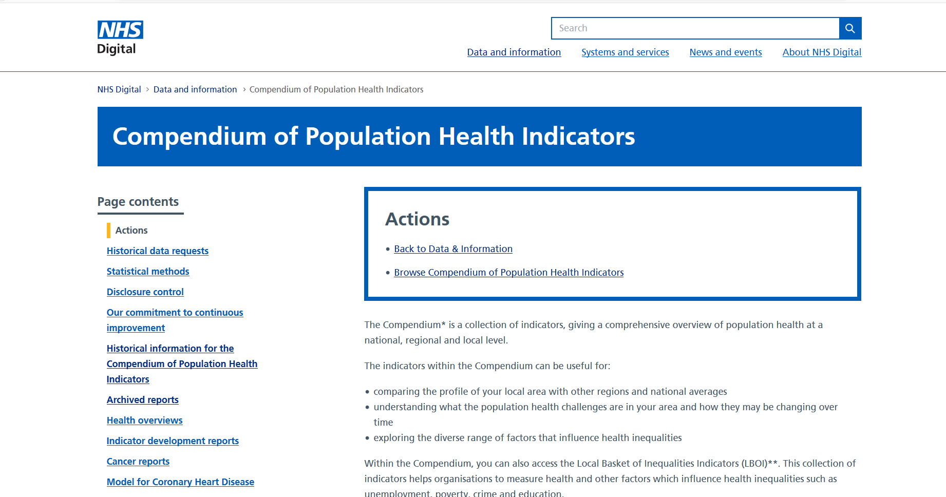 Compendium of Population Health Indicators